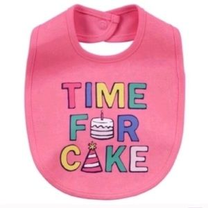 """Accessories - Baby Girl """"Time For Cake"""" Graphic Bib"""